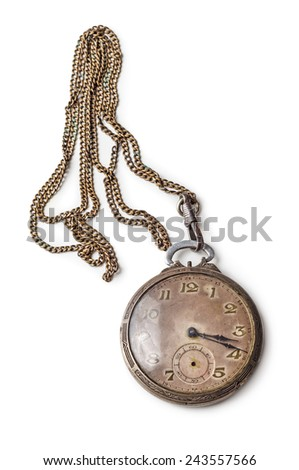 Old silver pocket watch with a chain isolated on white background  - stock photo