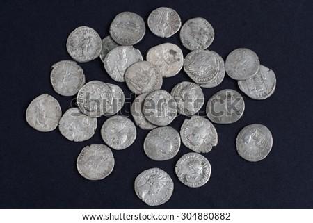 old silver roman coin - stock photo