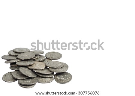 old silver roman coins isolated on white background - stock photo