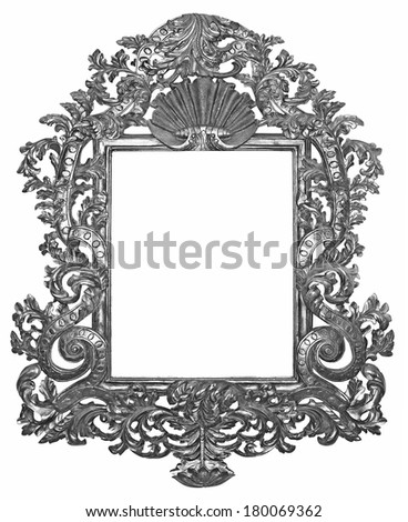 Old silver wooden frame for mirrors - stock photo