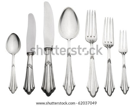 Old Silverware Set (Clipping Path) - stock photo
