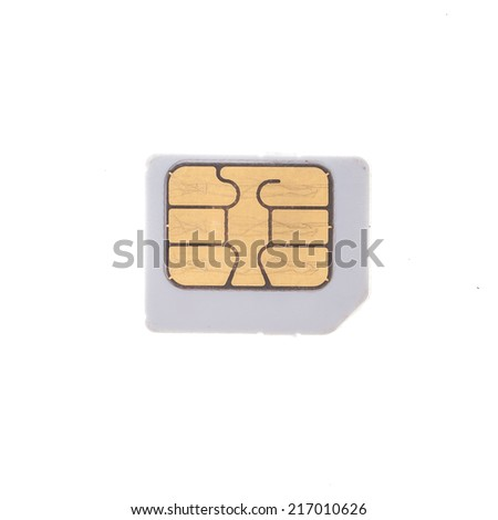 old sim card isolated on white background. - stock photo