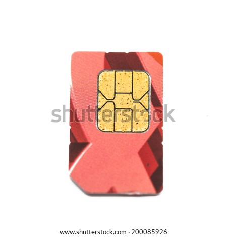 Old sim card on white background - stock photo