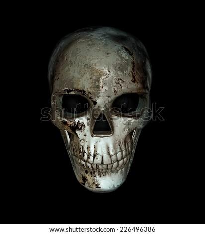 Old sinister skull man - stock photo