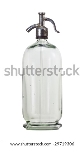 Old siphon bottle isolated on white background - stock photo