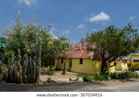 Old Slave houses - St Michel Views around Curacao a small Caribbean Island in the ABC islands - stock photo