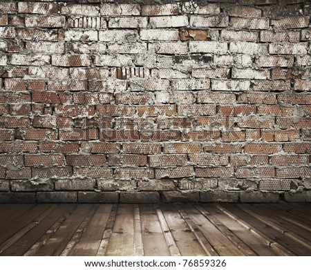 old slum with brick wall, vintage background - stock photo
