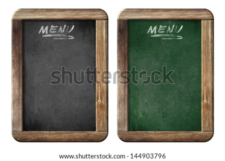 old small menu blackboards or chalkboards isolated with clipping path included - stock photo