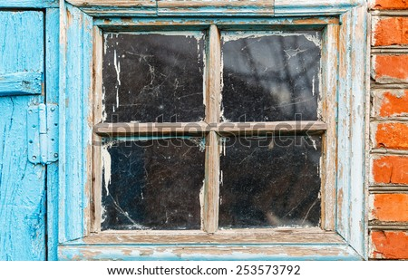 old small shabby window in country house - stock photo