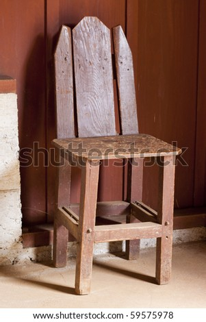 Old small wood chair - stock photo