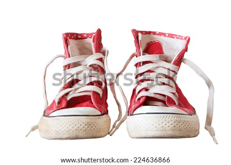old sneaker shoes isolated white