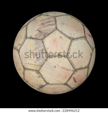 old soccer ball in countryside school - stock photo