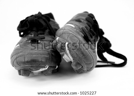 old soccer boot cleats 3 - stock photo