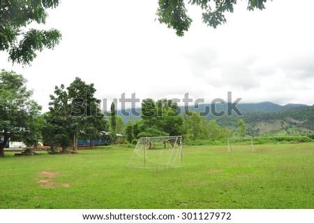 old soccer field the village field - stock photo
