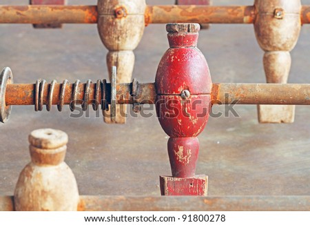 Old soccer table - stock photo