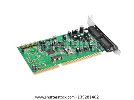 Old sound card for computer, isolated on white background - stock photo
