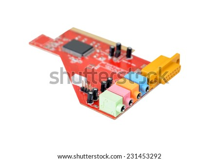 Old sound card for computer, isolated on white, DOF