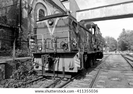 Old Soviet locomotive - stock photo