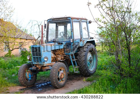 Old Soviet powerful tractor