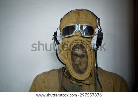 old soviet radio protective military suit - stock photo