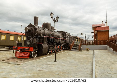 Old Soviet steam locomotive exhibit history Museum, Ekaterinburg, Russia, 05.07.2015 year