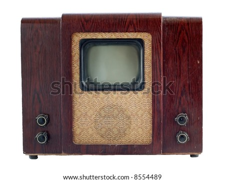Old soviet tv set isolated over white - stock photo