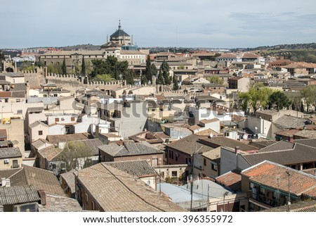 Old Spanish medieval town hose roofs under daylight