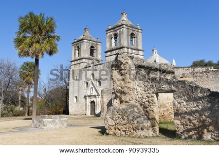 Old spanish mission Concepcion in Texas, USA - stock photo