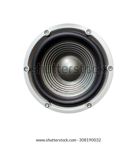 Old Speaker isolated on white background. with clipping path - stock photo