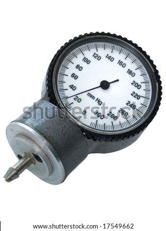 Old sphygmo manometer isolated on the white background