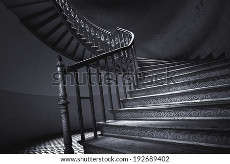 Old spiral staircase - stock photo