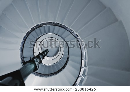 Old Spiral staircase close up. Architectural detail