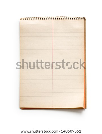 Old spiral striped notepad on white background - stock photo
