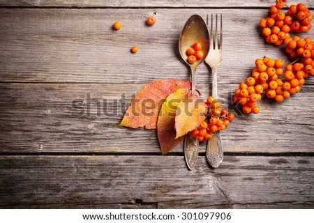 old spoon and fork on autumnal background - stock photo