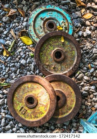 old sport equipment , Dumbbells - stock photo