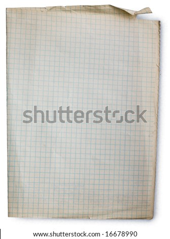 Old square lined paper from note book. Clipping path included to easy remove object shadow or replace background. - stock photo