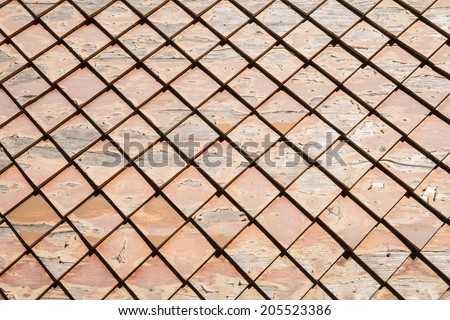 Old square wood roof - stock photo
