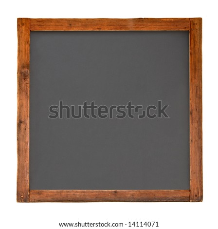 Old square wooden blackboard isolated on white - stock photo