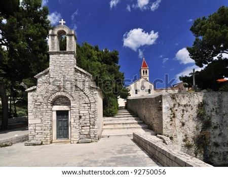Old St Ivan & Teodor chapel within Dominican monastery in Bol, Croatia. - stock photo