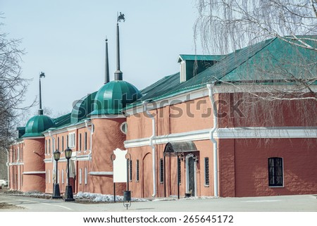 Old stable by the Trinity Sergius Lavra in Sergiev Posad. Moscow region. Russia.  - stock photo