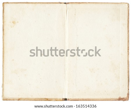 old stained open book on white background - stock photo