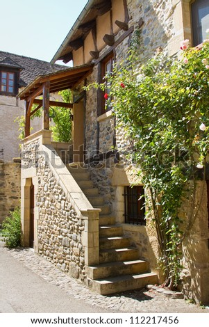 Old stairs from an house in Aubrac, France - stock photo
