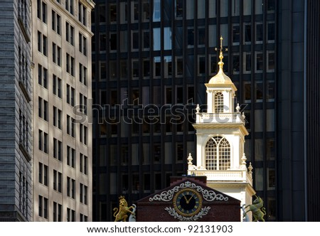 Old State House in downtown Boston, Massachusetts. Oldest surviving public building in Boston and the site of the Boston Massacre. - stock photo