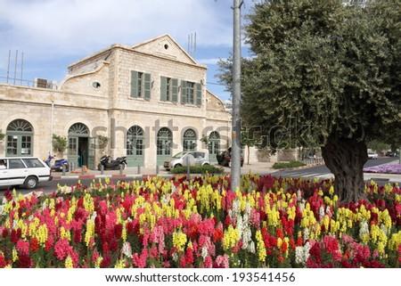 old station train jerusalem israel state capital city multireligious - stock photo