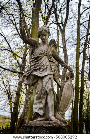 Old statue of an angel at Vilnius cemetery