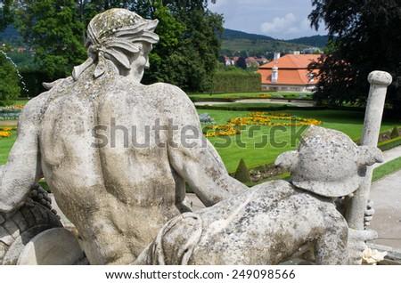 Old statues in castle garden - Cesky Krumlov, Czech Republic - stock photo