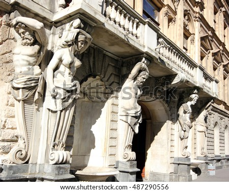 Old statues of the historic building in Saint Petersburg