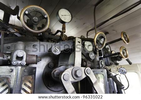 old steam locomotive cab - stock photo