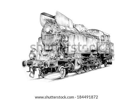old steam locomotive engine retro vintage - stock photo