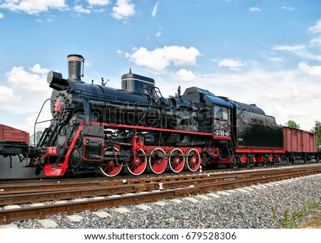 Old steam locomotive in Patriot Park in Moscow Region, Russia